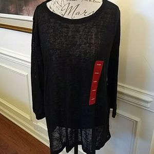 NEW Philosophy High Low Black Pullover Tunic XL